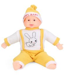 Kids Zone Laughing Doll Rabbit Print Yellow - 40 cm
