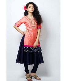 Peek-a-boo Stylish Kurta Pyjama Set - Peach & Navy Blue