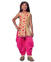 Peek-a-boo Kurta With Dhoti Pants - Cream & Rani