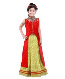 Peek-a-boo Indo Western Long Top & Lehenga - Red & Gold