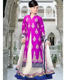 Peek-a-boo Elegant Long Top & Lehenga Set - Purple & White