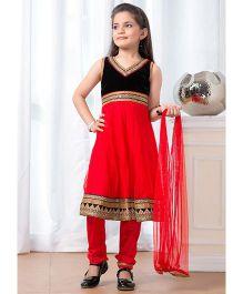Peek-a-boo Trendy Salwar Suit - Red & Black