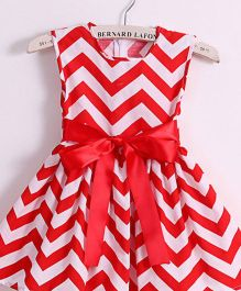 Supply Station Sleeveless Frock With Bow Applique - Red