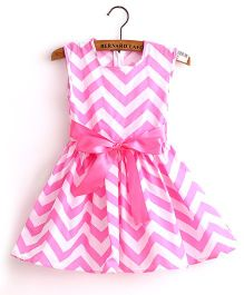 Supply Station Sleeveless Frock With Bow Applique - Pink