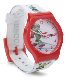 Fantasy World Wrist Watch Froggy Print - Red White