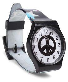 Fantasy World Wrist Watch Peace Print - Black And White