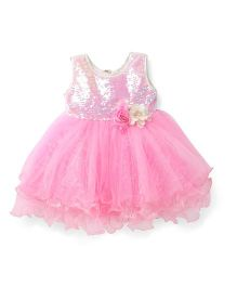 Bluebell Sleeveless Sequined Frock With Felt Flower Design - Pink