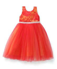Bluebell Sleeveless Frock Floral Design - Red & Orange