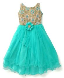 Bluebell Sleeveless Party Gown Floral Embroidered Bodice - Green