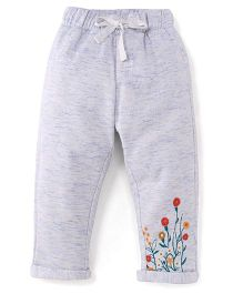 Button Noses Track Pants Floral Embroidery - Grey
