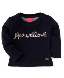 Button Noses Full Sleeves Top - Navy Blue