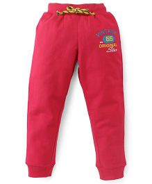 Button Noses Track Pants Floral Embroidery - Pink