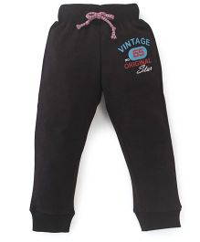 Button Noses Track Pants Vintage Original Star Print - Black