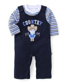 ToffyHouse Country Stitched Full Sleeves Romper With Inner Tee - Navy