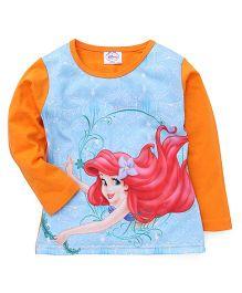 Eteenz Full Sleeves Top Little Mermaid Print - Orange