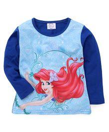 Eteenz Full Sleeves Top Little Mermaid Print - Royal Blue