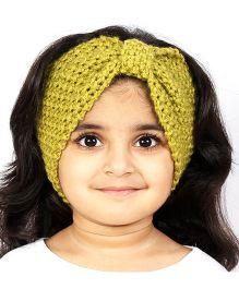 Magic Needles Girls Handknitted Bow Ear Warmer Headband - Olive Green
