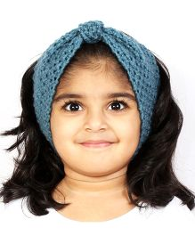 Magic Needles Girls Handknitted Bow Ear Warmer Headband - Storm Blue