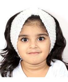 Magic Needles Girls Handknitted Bow Ear Warmer Headband - White