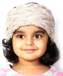 Magic Needles Girls Handknitted Double Cable Ear Warmer Headband - Beige