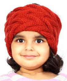 Magic Needles Girls Handknitted Double Cable Ear Warmer Headband - Brick Red