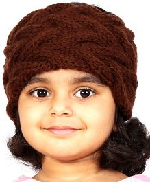 Magic Needles Girls Handknitted Double Cable Ear Warmer Headband - Brown