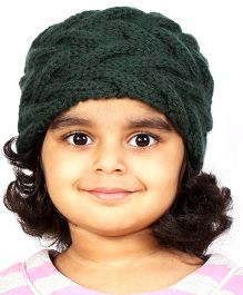 Magic Needles Girls Handknitted Double Cable Ear Warmer Headband - Dark Green