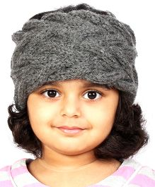 Magic Needles Girls Handknitted Double Cable Ear Warmer Headband - Dark Grey