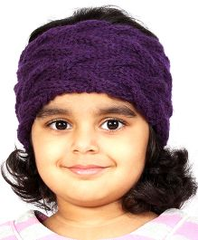 Magic Needles Girls Handknitted Double Cable Ear Warmer Headband - Dark Purple