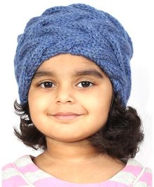 Magic Needles Girls Handknitted Double Cable Ear Warmer Headband - Denim Blue