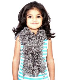 Magic Needles Girls Handknitted Frill Scarf - Grey