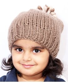 Magic Needles Handknitted Beanie With Pompom - Brown