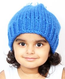 Magic Needles Handknitted Beanie With Pompom - Blue