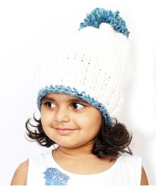Magic Needles Handknitted Beanie With Pompom - White