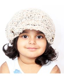 Magic Needles Handknitted Acorn Beanie With Front Flap - Cream