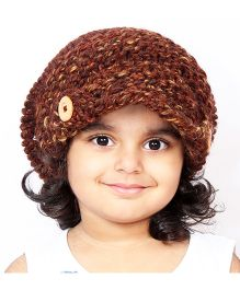 Magic Needles Handknitted Acorn Beanie With Front Flap - Brown