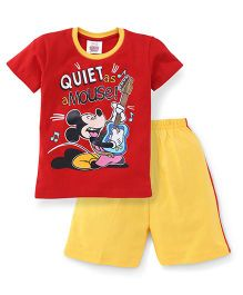 Eteenz Half Sleeves T-Shirt And Shorts Mickey Mouse With Guitar Print - Red & Yellow