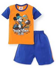 Eteenz Half Sleeves T-Shirt And Shorts Set Mickey Print - Orange Blue