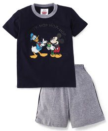 Eteenz Half Sleeves T-Shirt And Shorts Mickey & Donald Print - Navy And Grey