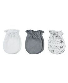 Playette Fashion Mittens Pack Of 3 - Grey White