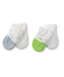Playette Ultra Soft Stay On Reversible Mittens - Grey & Green