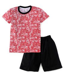 Eteenz Half Sleeves T-Shirt And Shorts Hot Wheels Print - Black Red