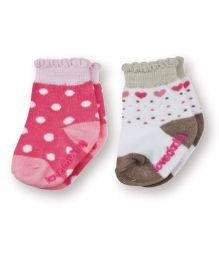 Playette Fashion Printed Socks Pink White - Pack Of 2