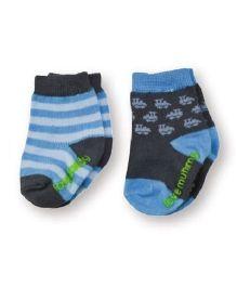 Playette Fashion Printed Socks Blue - Pack Of 2