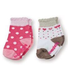 Playette Socks Polka Dot & Heart Design Pack Of 2 - Pink & White