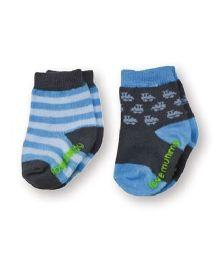 Playette Socks Stripes Design Pack Of 2 - Blue & Black