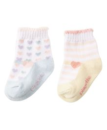 Playette Printed Socks Pack Of 2 - Pink Yellow
