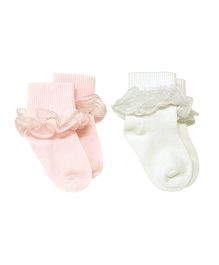 Playette Dress Socks Pink And White - Pack Of 2
