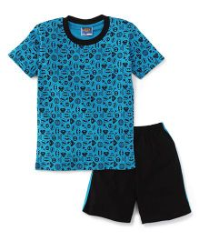 Eteenz Half Sleeves T-Shirt And Allover Print - Blue & Black