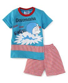 Eteenz Half Sleeves T-Shirt And Shorts Doraemon Print - Blue & Red